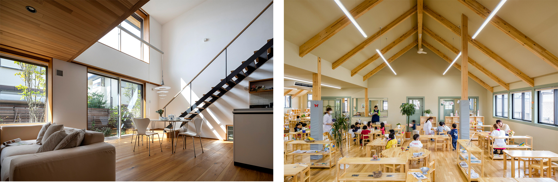 左:木造注文住宅/右:大規模木造建築(こども園)