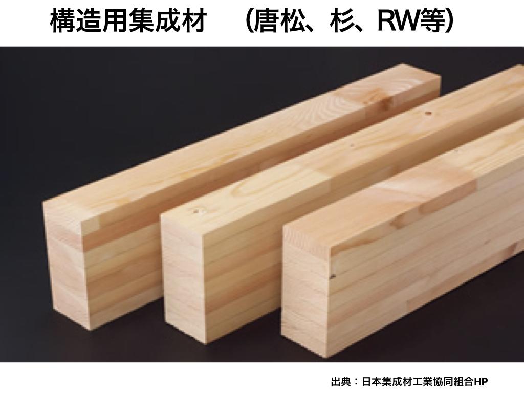 中大規模木造の構造材3:構造用集成材(唐松、杉、RW等)