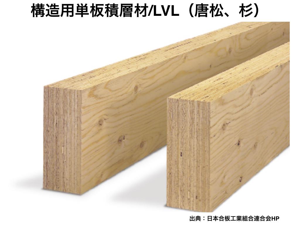 中大規模木造の構造材4:構造用単板積層材/LVL(唐松、杉)