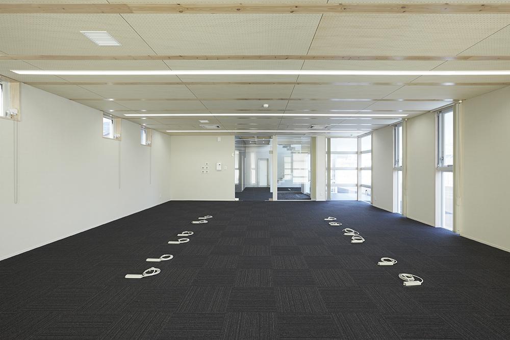 1階のオフィスは、間口10,920mm×奥行8,190mmの無柱空間