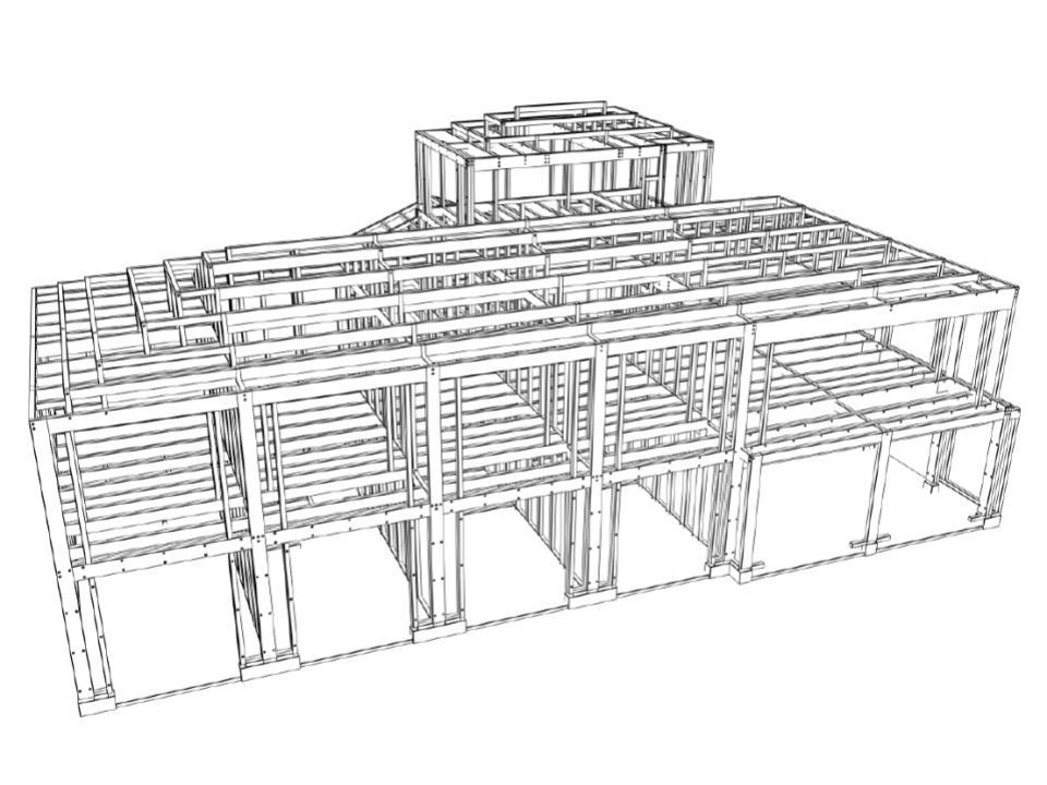 構造躯体の大部分を標準材で構成し、特注材は部分的に使用